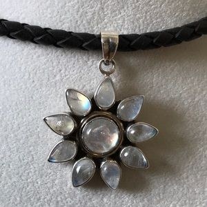 Sterling Silver 925 large Moonstone Leather new